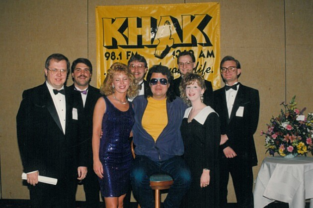 Ronnie Milsap with KHAK airstaff at Free Country Concert April 26, 1992