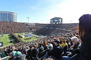 The southern two-thirds of Kinnick Stadium was packed as Kinnick Stadium hosted 42,287 for a wrestling meet in the stadium that seats 70,585 for football. In Iowa City, Iowa 11-14-15