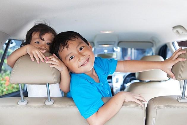 Happy siblings in the car